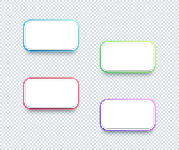 Wektor 3d pudełka białego teksta pudełka elementy ustawiający cztery Premium Wektorów