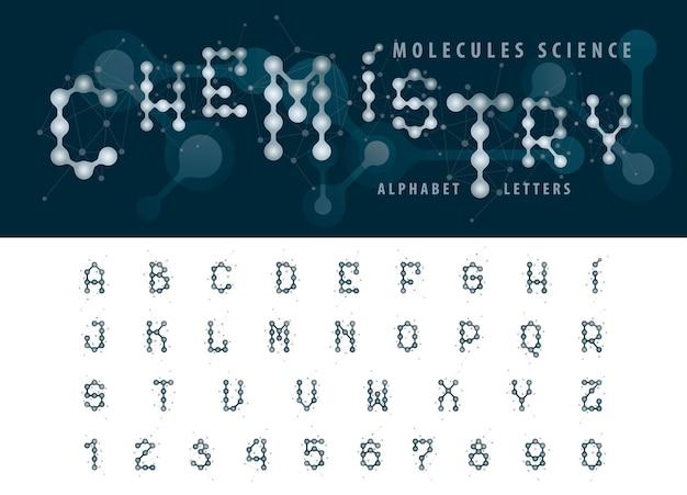 Wektor abstrakcyjne cząsteczki komórki litery alfabetu i liczb Premium Wektorów
