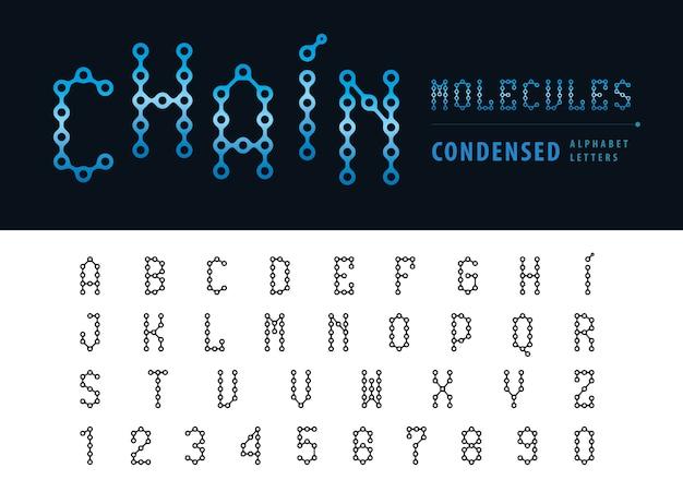 Wektor abstrakcyjne litery i cyfry łańcucha alfabetu, zagęszczone czcionki Premium Wektorów