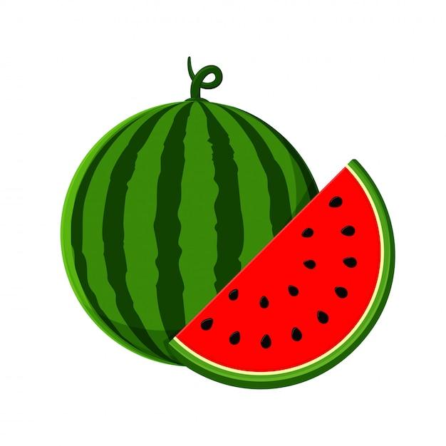 Wektor arbuza. arbuz z czerwonym miąższem jest o połowę izolowany Premium Wektorów