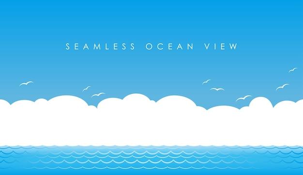 Wektor Bez Szwu Widok Na Ocean Darmowych Wektorów