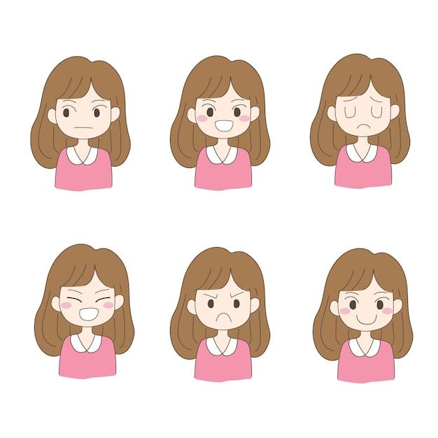 Wektor Charakteru Projekta Set Kobieta, Dziewczyna. Premium Wektorów