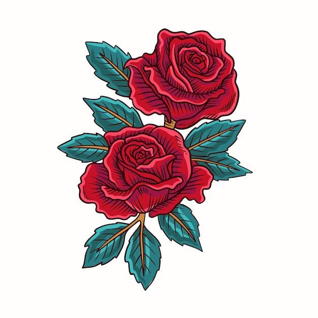 Wektor czerwony kwiat róży Premium Wektorów