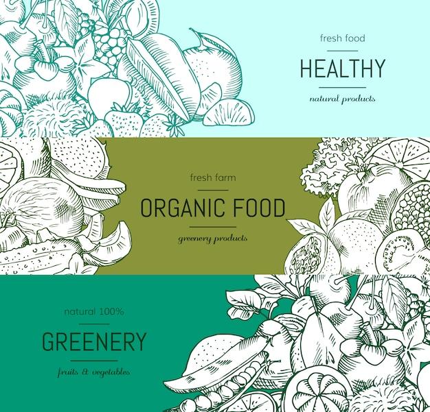 Wektor doodle warzywa i owoce handdrawn wegańskie, zestaw transparentu zdrowej żywności Premium Wektorów