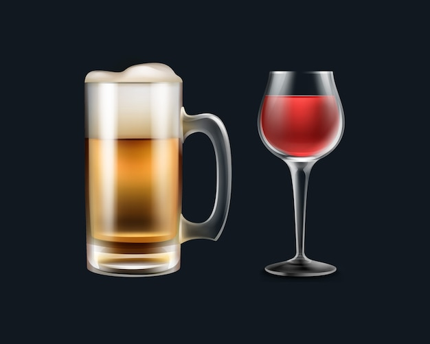 Wektor Duży Szklany Kufel Piwa I Wina Z Bliska Widok Z Boku Na Białym Na Czarnym Tle Darmowych Wektorów