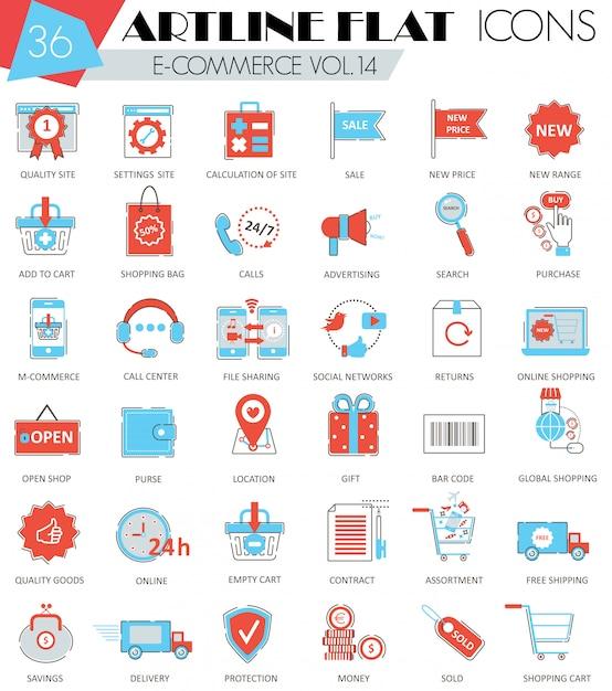 Wektor e-commerce ultra nowoczesny kontur artline płaskie ikony linii Premium Wektorów