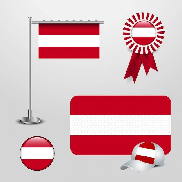 Wektor Flaga Austrii Premium Wektorów