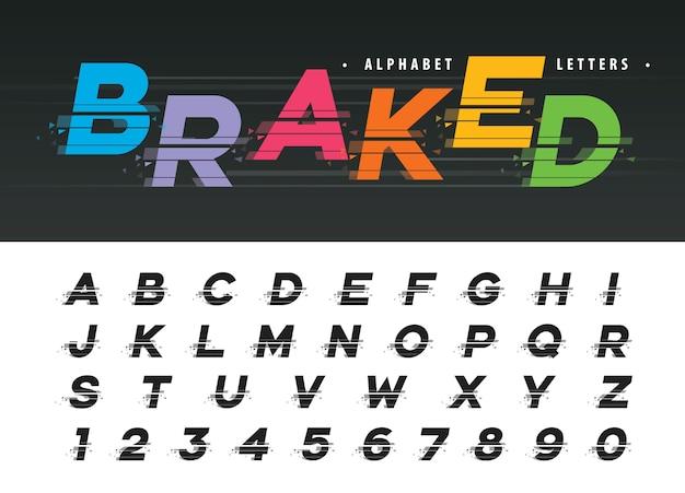Wektor glitch nowoczesne litery alfabetu Premium Wektorów
