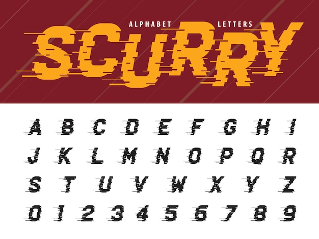 Wektor glitch nowoczesnych liter alfabetu i liczb Premium Wektorów