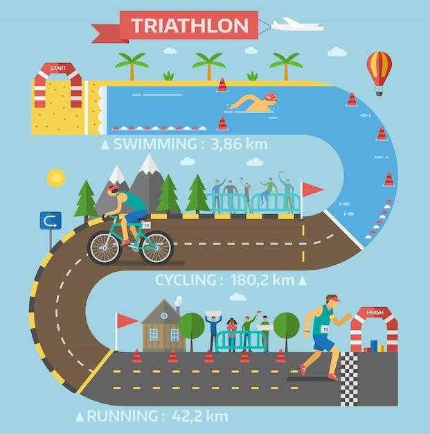 Wektor Gry Wyścig Triathlon. Premium Wektorów