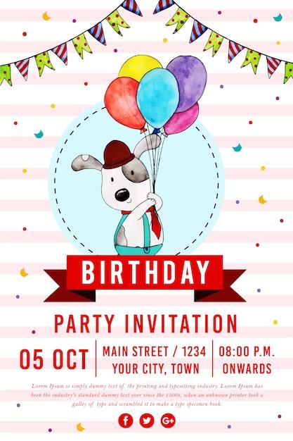 Wektor happy birthday party plakat Premium Wektorów