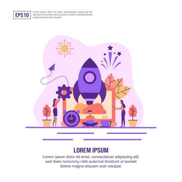 Wektor ilustracja koncepcja uruchamiania Premium Wektorów