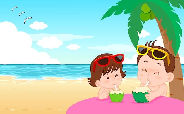 Wektor Ilustracja Kreskówka ładny Chłopiec I Dziewczynka Pije Wodę Kokosową Na Plaży Premium Wektorów