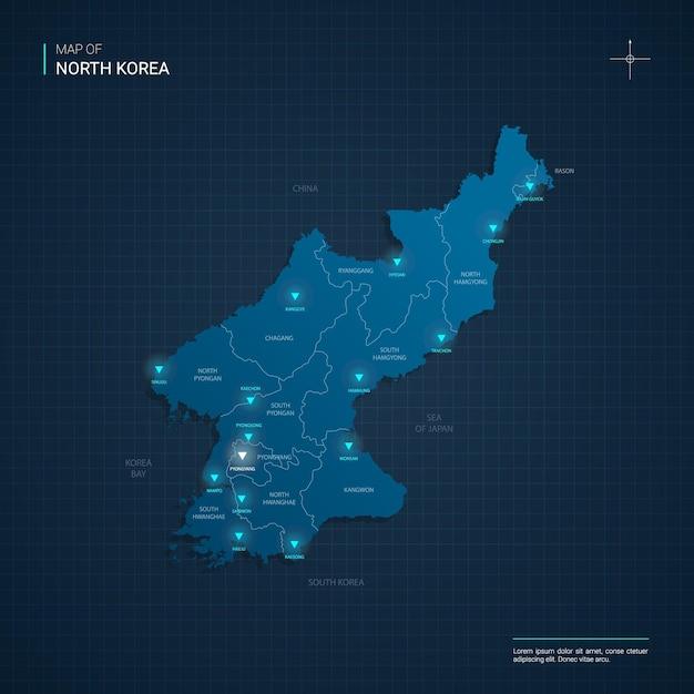 Wektor Ilustracja Mapa Korei Północnej Z Niebieskimi Neonami Premium Wektorów