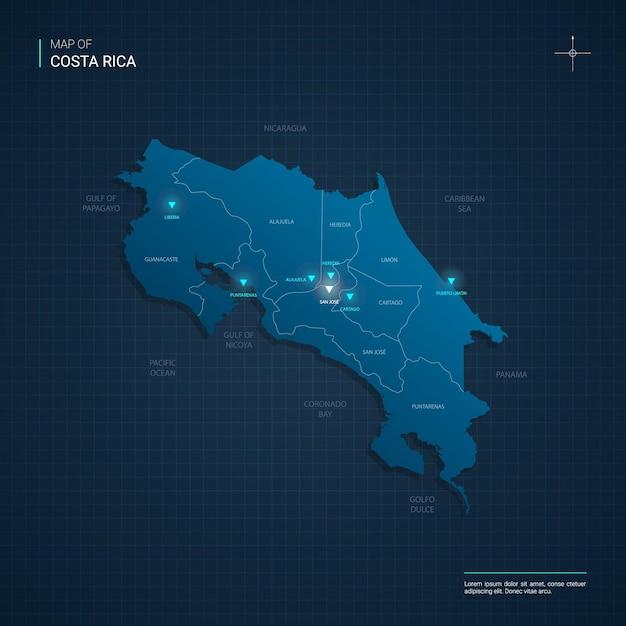 Wektor Ilustracja Mapa Kostaryki Z Niebieskimi Neonami Premium Wektorów