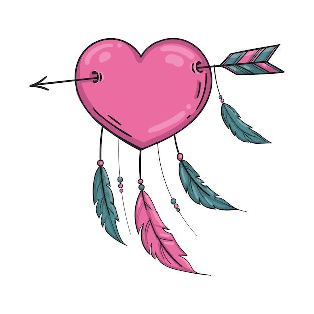 Wektor Indyjski Różowe Serce Ze Strzałką I Ornamentem. Na Białym Tle Premium Wektorów
