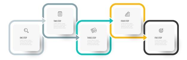 Wektor Infografika Kolorowy Projekt Ze Strzałką I 5 Opcjami Lub Krokami. Premium Wektorów