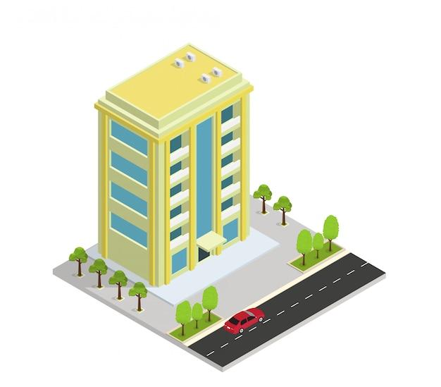 Wektor izometryczny budynek hotelu, mieszkania lub wieżowca Premium Wektorów