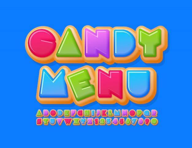 Wektor Jasny Szablon Candy Menu Z Kreatywną Czcionką Donut. Kolorowe Słodkie Litery Alfabetu I Cyfry Premium Wektorów