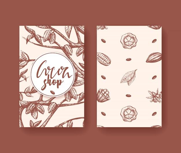 Wektor kakao karty superfood dwie strony. grawerowanie owoców, liści i fasoli. Premium Wektorów