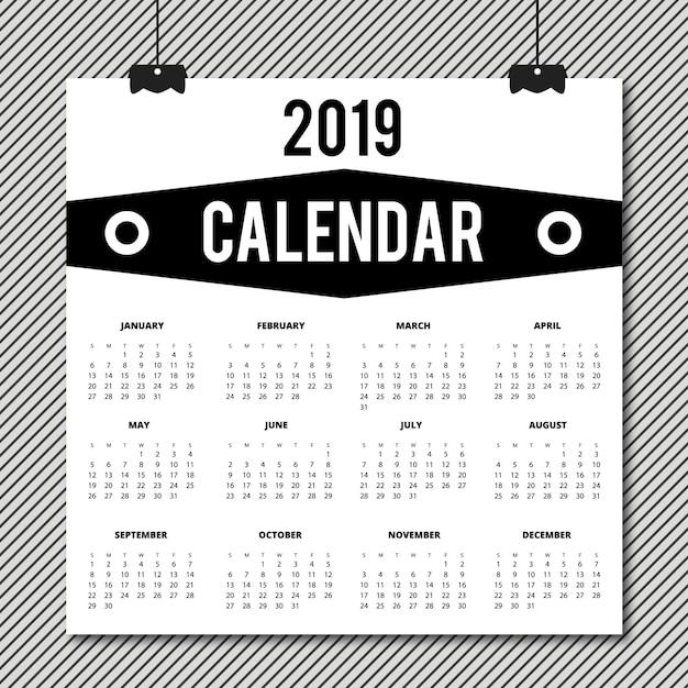 Wektor kalendarza 2019 projektu Darmowych Wektorów
