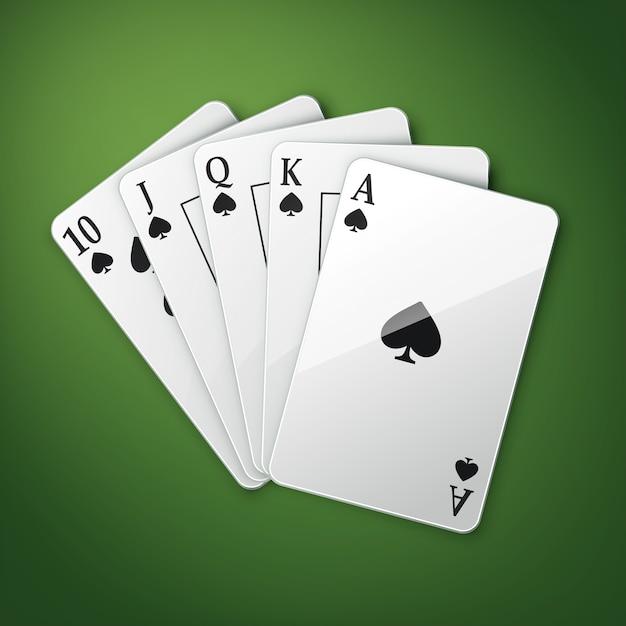 Wektor Karty Do Gry W Kasynie Lub Poker Królewski Widok Z Góry Na Białym Tle Na Zielonym Stole Do Pokera Darmowych Wektorów