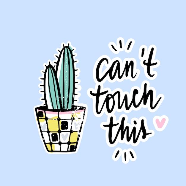 Wektor karty z kaktusa i pozytywne zdanie. Premium Wektorów