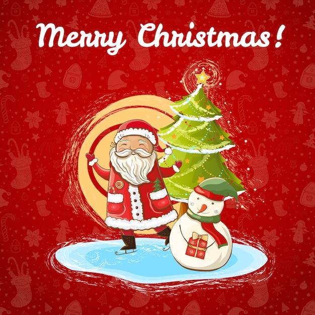 Wektor Kolor Jasny Szablon Boże Narodzenie Z Ilustracją Szczęśliwego świętego Mikołaja, Bałwana I Jasnej Choinki. Ręcznie Rysowane,. Premium Wektorów