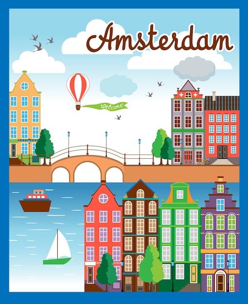 Wektor Kolorowy Kreskówka Tło Miasta Amsterdam Z Budynków Morze łodzie Balonem I Niebo. Darmowych Wektorów