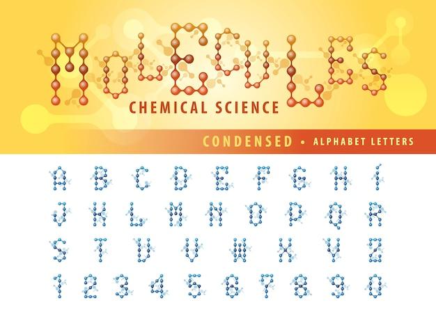 Wektor komórki cząsteczki streszczenie litery alfabetu i liczb, zagęszczone czcionki Premium Wektorów