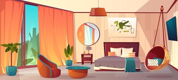 Wektor kreskówka wnętrze przytulnej sypialni hotel z meblami - podwójne łóżko, dywan i kominek. liv Darmowych Wektorów