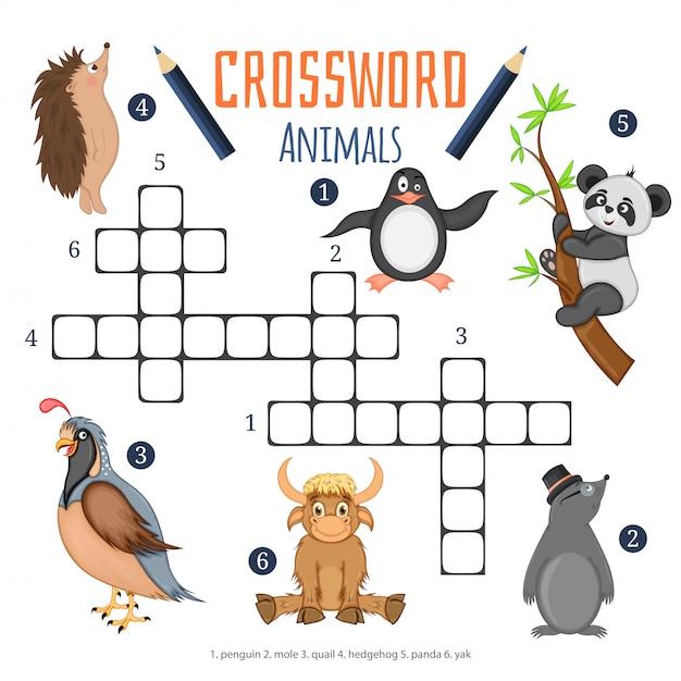 Wektor krzyżówka kolor, gra edukacyjna dla dzieci o zwierzętach Premium Wektorów
