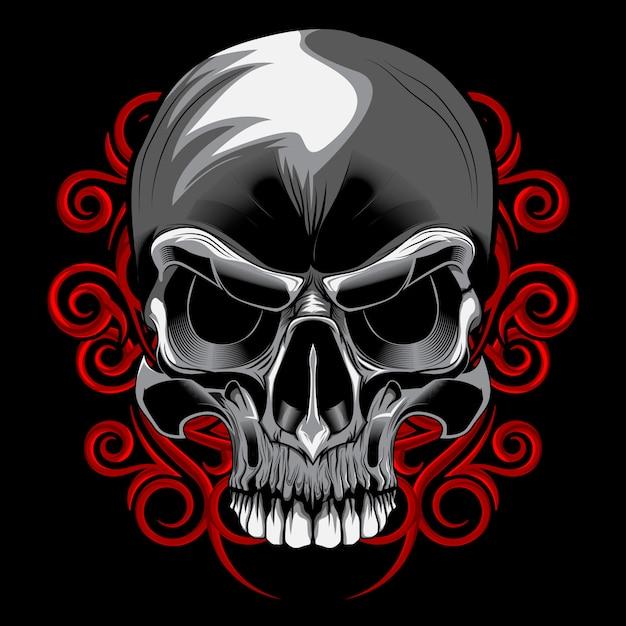 Wektor kwiatowy spirala czaszki Premium Wektorów