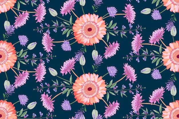 Wektor kwiatowy wzór. kolorowe jesienne astry, szałwia, golden-daisy, chryzantema, cynie na głębokim fioletowym polu. pojedyncze kwiaty i liście. Premium Wektorów