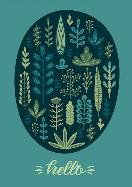 Wektor kwiatowy wzór z słodkie zioła i liście. Premium Wektorów