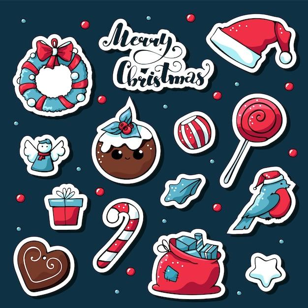 Wektor ładny doodle naklejki świąteczne z napisem wesołych świąt. Premium Wektorów