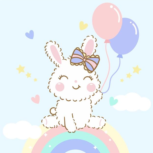 Wektor ładny króliczek dziecko siedzieć na tęczy z balonów Premium Wektorów