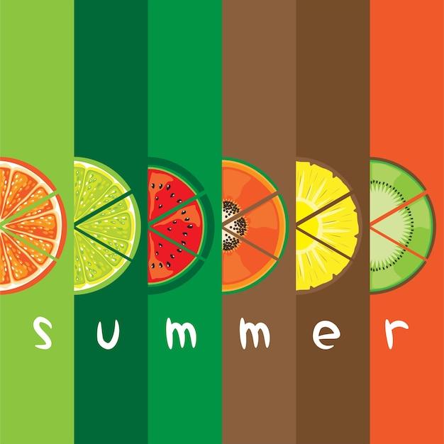 Wektor Letniego Owocowego Plasterek Na Koloru Prętowym Tle Premium Wektorów