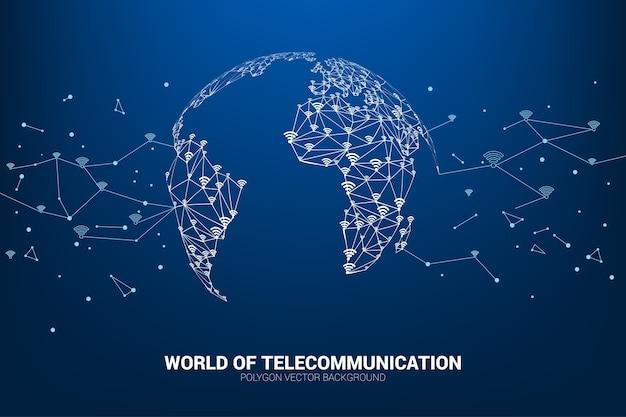 Wektor linia wielokąta łączy dane mobilne i oznakowanie ikony wi-fi kształtuje mapę świata. Premium Wektorów