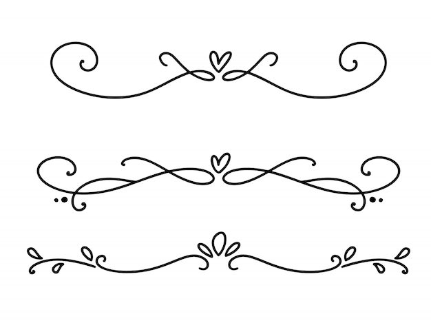 Wektor linii vintage eleganckie dzielniki i separatory valentine, wiruje i rogi ozdoby dekoracyjne. kwiatowe linie filigranowe Premium Wektorów