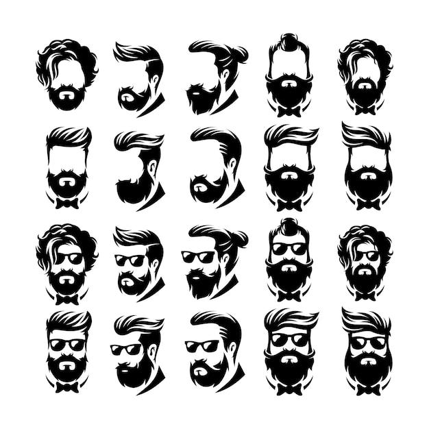 Wektor logo fryzjer broda Premium Wektorów