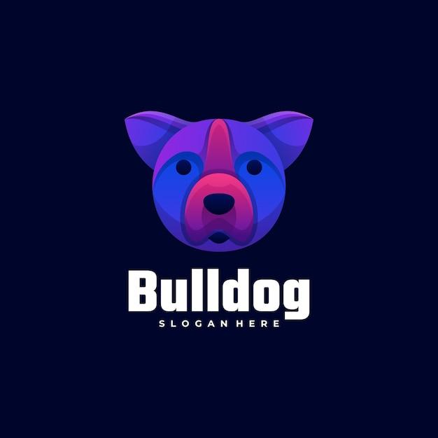 Wektor Logo Ilustracja Bulldog Gradient Kolorowy Styl. Premium Wektorów