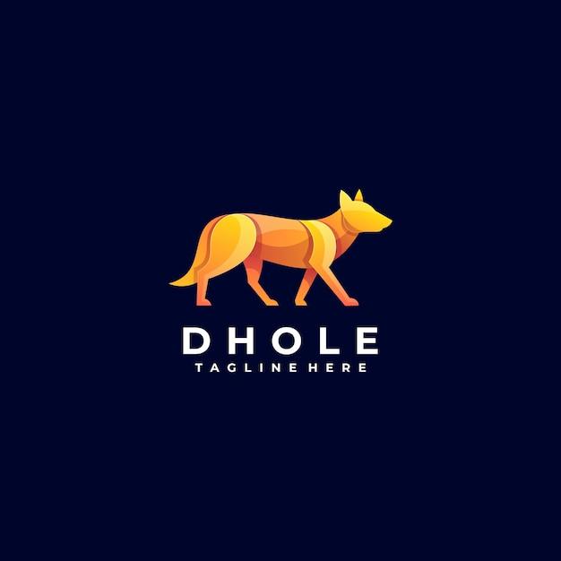 Wektor Logo Ilustracja Pies Gradientu Kolorowy Styl. Premium Wektorów