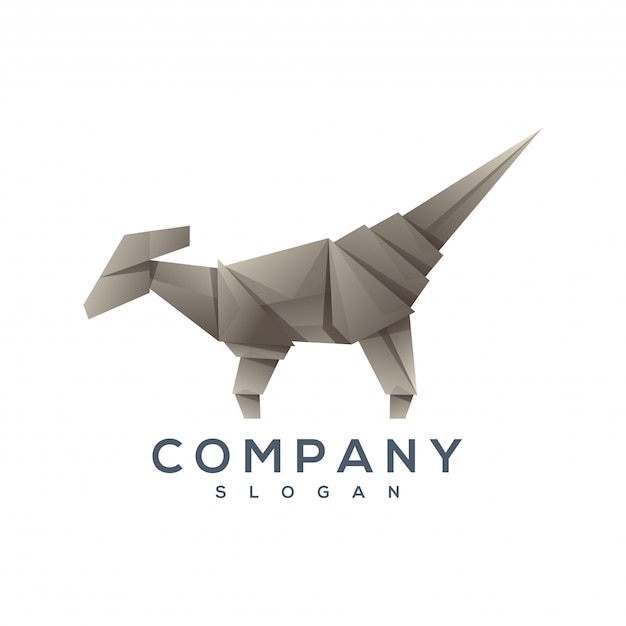 Wektor logo stylu origami dinozaura Premium Wektorów