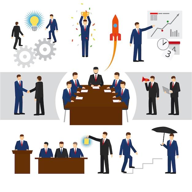 Wektor ludzi biznesu i pracy zespołowej Premium Wektorów