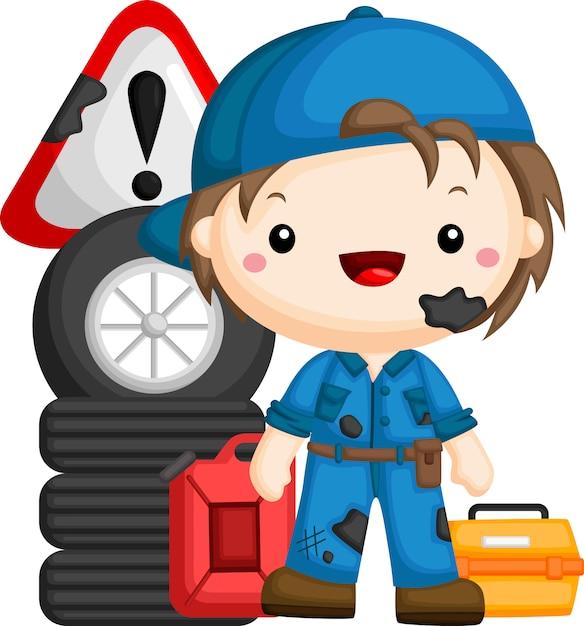 Wektor Mechanika Z Narzędziami I Sprzętem Premium Wektorów