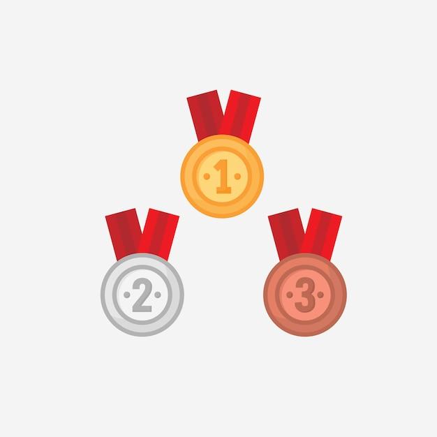 Wektor medal zwycięzca w płaska konstrukcja Premium Wektorów