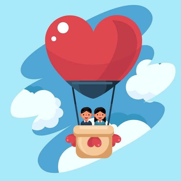 Wektor miłość i walentynki, młoda para kochanek w balon. wycieczka dla nowożeńców Premium Wektorów