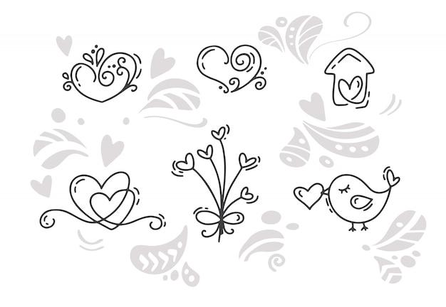 Wektor monoline valentines day ręcznie rysowane elementy. szczęśliwy walentynki. wakacyjna nakreślenie doodle projekta karta z sercem. Premium Wektorów
