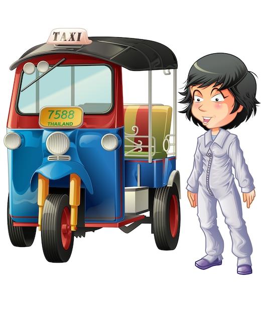 Wektor odizolowywający tajlandzki kierowca i motorowy trójkołowiec. Premium Wektorów